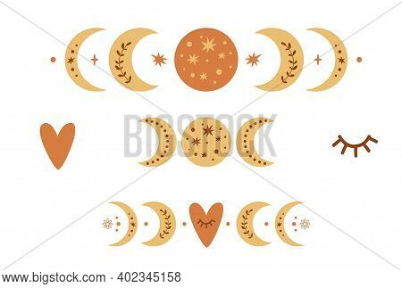 Boho Moon Phase Logo Set. Boho Moon Symbol. Cute Love Moon Elements. Celestial Valentines Day Icons.
