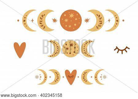 Boho Moon Phase Logo Set. Boho Moon Symbol. Cute Love Moon Elements. Celestial Valentines Day Icons.