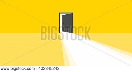 Open Door. Open Door With Light Rays Business Concept. Vector Illustration