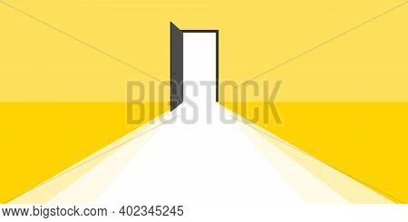 Open Door. Open Door With Light Rays Business Concept. Trend Design. Vector Illustration