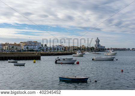 Isla Cristina, Spain - 7 January 2021: The Fishing Port And Harbor At Isla Cristina In Andalusia