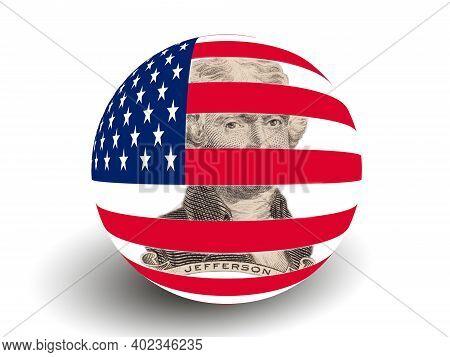 Portrait Of U.s. President Thomas Jefferson With Usa Flag Globe