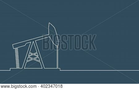 Oil Derrick Outline 3d Icon. Energy And Power Thin Line Style Silhouette