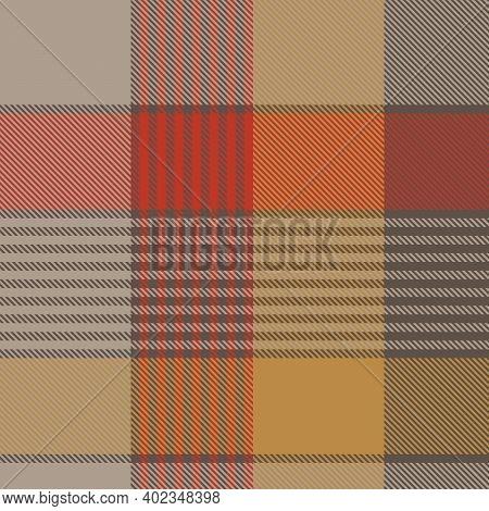 Orange Asymmetric Plaid Textured Seamless Pattern