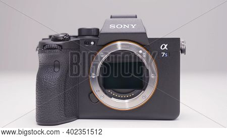 Russia, Moscow-december, 2020: New Sony Camera On White Background. Action. Latest Professional Came