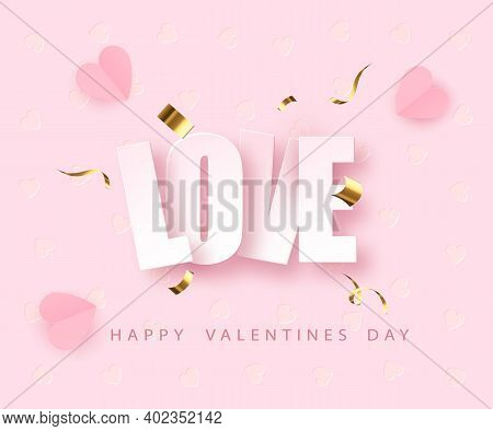 Love Greeting Card Design Fo Valentines Day. Happy Valentines Day. Vector Illustration