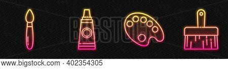 Set Line Palette, Paint Brush, Tube With Paint Palette And Paint Brush. Glowing Neon Icon. Vector