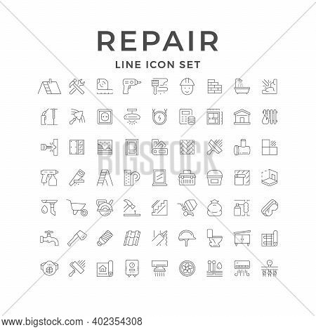 Set Line Icons Of House Repair Isolated On White. Construction, Tool, Protective Equipment, Painting