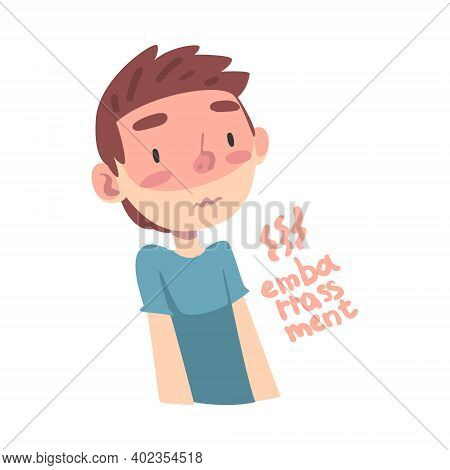 Cute Boy Feeling Embarrassment, Child Feelings And Emotions Cartoon Style Vector Illustration