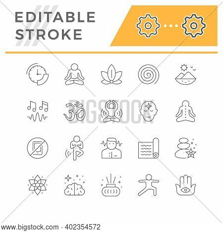Set Line Icons Of Meditation And Yoga Isolated On White. Lotus Position, Zen, Mind Concentration, Ou