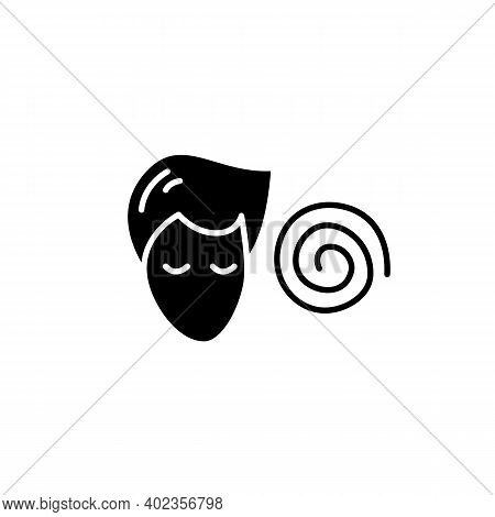 Hypnosis Glyph Icon. Absorbed Or Meditating Person With Hypnotic Helix Filled Flat Sign. Concept Of