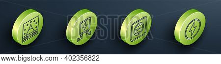 Set Isometric Ampere Meter, Multimeter, Voltmeter, Electric Transformer, Electrical Outlet And Light