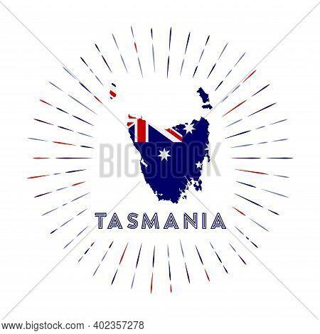 Tasmania Sunburst Badge. The Island Sign With Map Of Tasmania With Australian Flag. Colorful Rays Ar