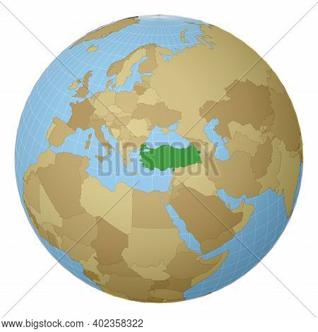 Globe Centered To Turkey. Country Highlighted With Green Color On World Map. Satellite Projection Vi