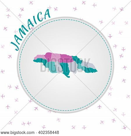 Jamaica Map Design. Map Of The Country With Regions In Emerald-amethyst Color Palette. Rounded Trave