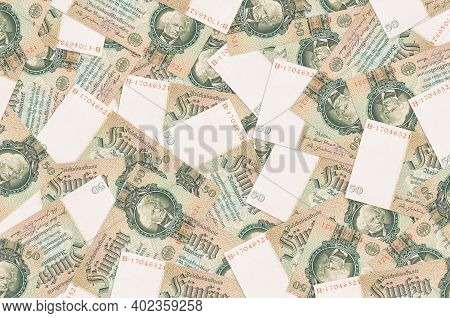 50 Reich Marks Bills Lies In Big Pile. Rich Life Conceptual Background. Big Amount Of Money
