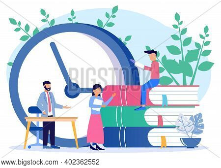 Vector Illustration Character People Reading Near Big Clock And Books, Time To Study, Enjoy A Good B