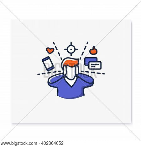 Attention Focus Color Icon. Man Limiting Attention And Ignoring Social Media Distractions. Concept L