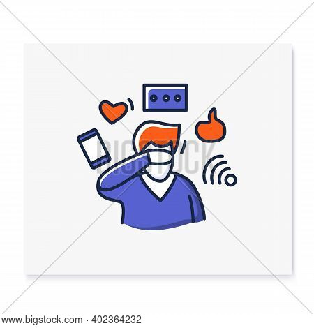 Attention Focus Color Icon.male Avatar Ignoring Social Media Distractions.concept For Mind Focus, At