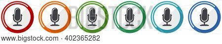 Microphone Icon Set, Flat Design Vector Illustration In 6 Colors Options For Webdesign And Mobile Ap