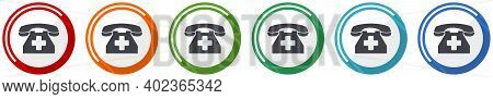 Emergency Call Icon Set, Phone Flat Design Vector Illustration In 6 Colors Options For Webdesign And