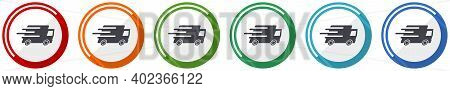 Speed Transport Icon Set, Fast Delivery, Truck Flat Design Vector Illustration In 6 Colors Options F