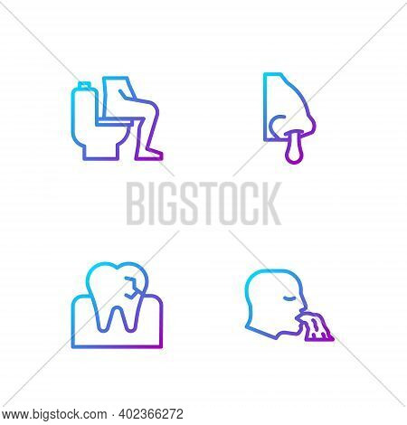 Set Line Vomiting Man, Tooth With Caries, Constipation And Runny Nose. Gradient Color Icons. Vector