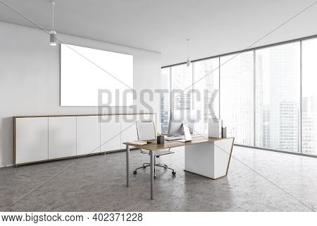 Mockup Canvas In White Light Office With One Chair And Table With Computer, On Marble Floor With Whi