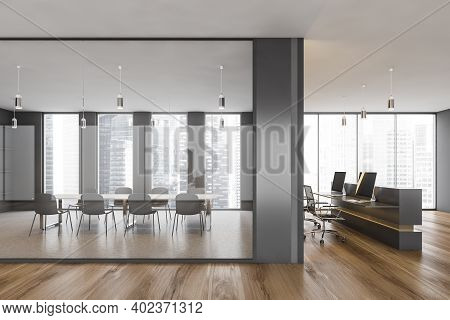 Office Conference Room With Table And Chairs, Behind Glass Window. Minimalist Meeting Room And Recep