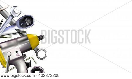 3d Composition Of Set Tools Of Mechanic, Isolated On White Background. Copy-space Illustration.
