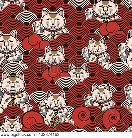 Asian Vintage Colorful Seamless Pattern With Lucky Cats And Japanese Decorative Waves Vector Illustr