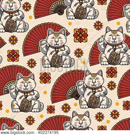 Colorful Oriental Vintage Seamless Pattern With Lucky Cats Folding Fans Decorative Flowers On Tradit