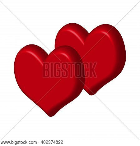 Two 3d Red Hearts Isolated On White Background Close-up. A Symbol Of Love And All Lovers. Traditiona