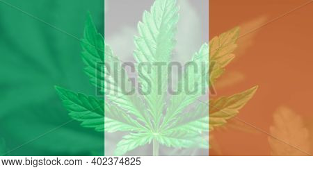 Cannabis Legalization In The Ireland. Medical Cannabis In The Ireland. Leaf Of Cannabis Marijuana On