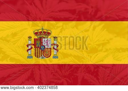 Leaf Of Cannabis Marijuana On The Flag Of Spain. Medical Cannabis In The Spain. Weed Decriminalizati