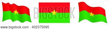 Flag Of Burkina Faso In Static Position And In Motion, Fluttering In Wind In Exact Colors And Sizes,