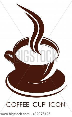 Monochrome Coffee Mug Icon With Drink On White Background. Design Element For Coffee Shop. Contrast