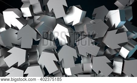 Many Falling Arrows, Computer Generated. 3d Render Of Modern Background