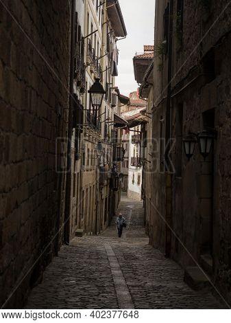 Old Historical Buildings Facades In Narrow Cobblestone Streets Alley Lane In Hondarribia Fuenterrabi