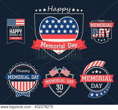 Happy Memorial Day Label. Set Icons For Memorial Day. Vector Illustration The Memory Sticker Day. Me