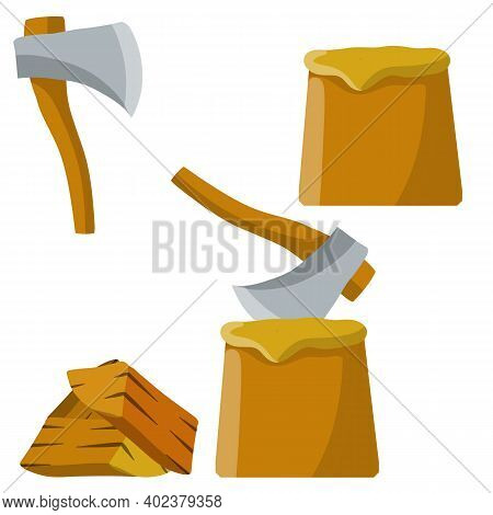 Chopping. Logger Axe And Log. Timber Harvesting. Fuel Wood. Lumberjack And Woodcutter Element. Set O