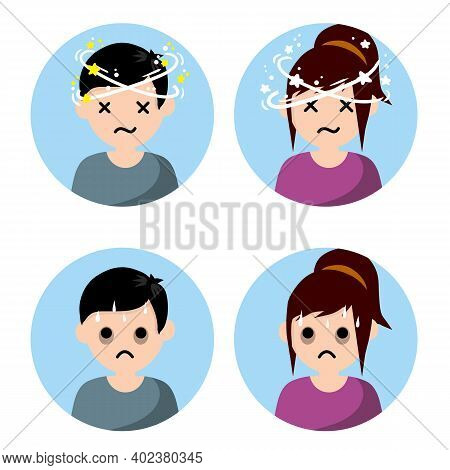 Comic Star Spinning Around Head. Sweating And Depression. Health Problem Flat Icon Isolated On White