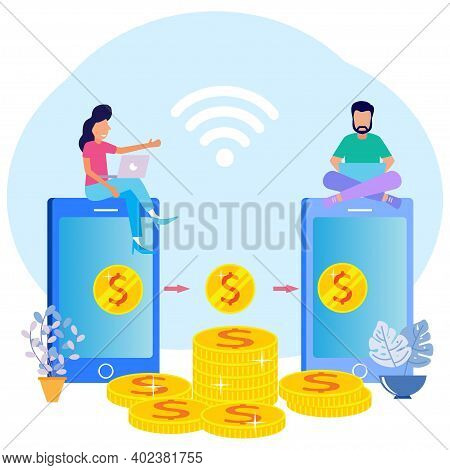 Vector Illustration Of Business Concepts, Financial Transactions, Digital Payment Transactions. Post