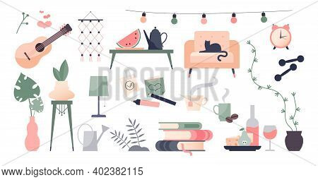 Stay Home Objects Set As Social Distancing Associative Elements Collection