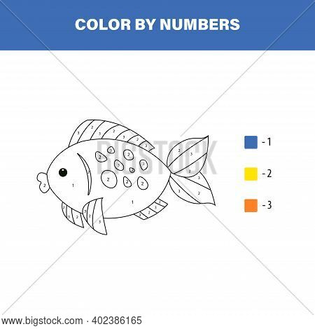 Color Cute Fish By Number. Educational Math Game For Children. Coloring Page.