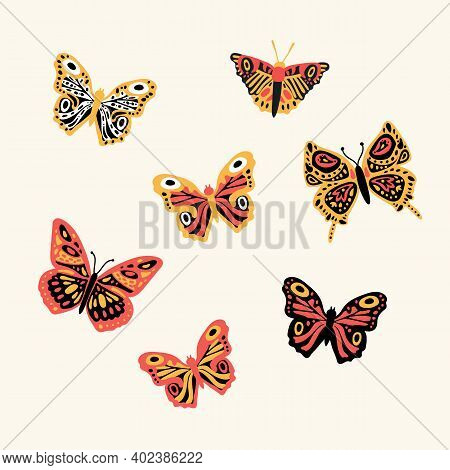 Set Of Butterflies Flying Insects. Cute Little Inhabitants Of The Animal World. A Collection Of Soar