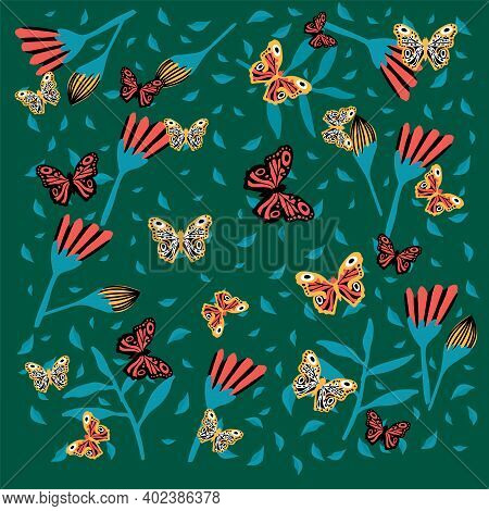 Background With Butterflies And Flowers. Floral Rainforest With Insects. Spring And Summer Poster. D