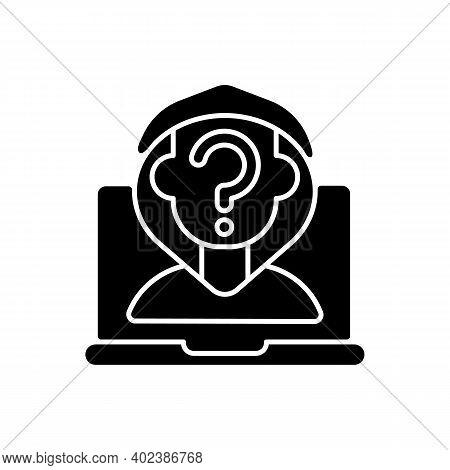 Anonymous Cyberbullying Black Glyph Icon. Cyberharassment Anonymity. Social Media Account Privacy. U