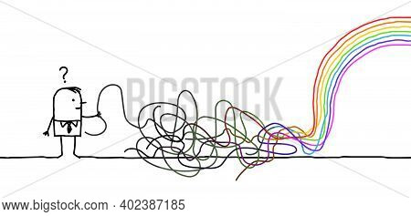 Hand Drawn Confused Carton Man With Tangled Gray Lines Going To A Rainbow