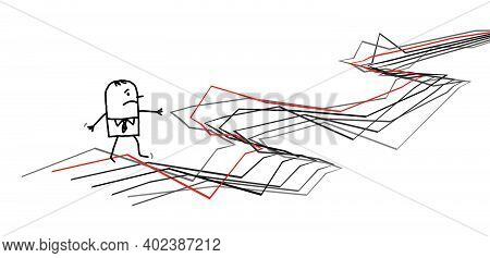 Hand Drawn Confused Carton Man Walking On Chaotic Gray Lines Path